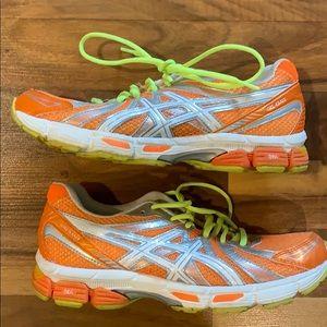 ASICS orange yellow running tennis shoes 8